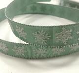 Stuha šalvějově zelená s vločkami - 15mm - 1m