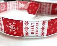Stuha taftová s drátem - bíločervená - Merry Christmas - 25mm - 1m