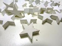 Dřevěné hvězdičky 2 cm  - bílé - 20ks