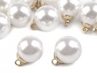 Peříčkové srdce s perlami - bílé