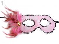 Karnevalová škraboška krajková  s peřím- růžová