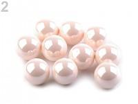 Dekorační perly 10 mm - pudrově růžové lesklé - 50 ks