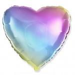 Foliový balónek srdce 45cm - duhové