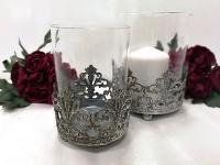 Svícen antik kov/sklo - velký