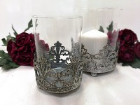 Svícen antik kov/sklo - malý