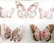 Motýl klip růžový - mix 5 ks