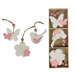 Dřevěné jarní dekorace k zavěšení - bílo-růžový mix