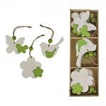 Dřevěné jarní dekorace k zavěšení - bílo-zelený mix