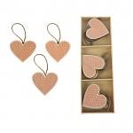 Dřevěné srdce s puntíky růžové - závěs - 1 ks