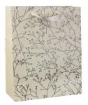 Papírová dárková taška - bílo-stříbrná 32 cm
