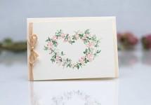 Svatební blahopřání akvarelové - srdce růžové