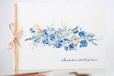 Svatební blahopřání akvarelové - modré kvítky