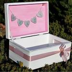 Dřevěná krabička na přání bílá - stuha a srdce