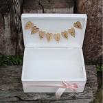 Dřevěná krabička na přání (peníze) bílá - Děkujeme