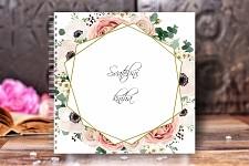 Svatební kniha hostů - bílá - květy a zlatý rám