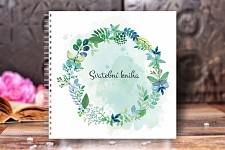 Svatební kniha hostů bílá - modrozelená s motýly