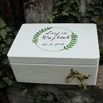 Dřevěná krabička na přání (peníze) - zelené kapradí