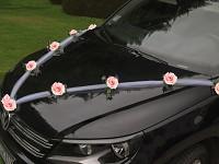 Girlanda na auto - tylová šerpa s růžemi - krémovorůžová - 1ks