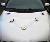Girlanda na auto - tylová šerpa s růžemi - krémová - 1ks