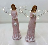 Anděl  růžový se srdíčky - svítící křídla