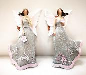 Anděl bílý s růžovými srdíčky - svítící křídla