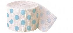 Krepová stuha - bílá se sv.modrými puntíky - 9m