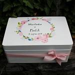 Dřevěná krabička na přání (peníze) - květinová poezie
