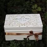 Dřevěná krabička na přání (peníze) - zámecká zlatá