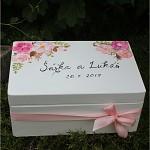 Dřevěná krabička na přání (peníze) - růžové květy