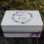 Dřevěná krabička na přání (peníze) - peříčka