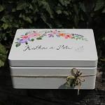 Dřevěná krabička na přání (peníze) - kvítí folklor