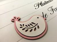 Dřevěný ptáček bílo- růžový - 1 ks