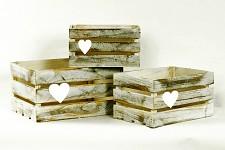 Bedýnka dřevěná hnědá patina - sada 3ks - půjčovna