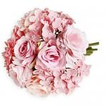 Kytice růže a hortenzie - růžová - 21 cm