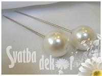 Špendlík  - bílá perla velká -1ks