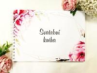 Svatební kniha hostů podélná - pivoňky růžové