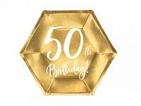 Papírové talířky zlaté 50.narozeniny - 6 ks