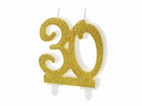 Narozeninová svíčka zlatá - číslo 30