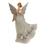 Anděl (víla) s květinou - šedá 17 cm