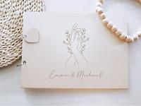Svatební kniha hostů - dřevěná se jmény - květina