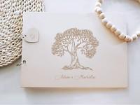 Svatební kniha hostů - dřevěná se jmény - strom