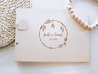 Svatební kniha hostů - dřevěná se jmény - BOHO