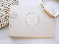 Svatební kniha hostů - dřevěná se jmény - větvičky