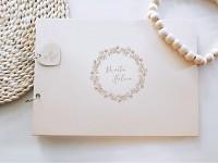 Svatební kniha hostů - dřevěná se jmény - Drobné kvítky