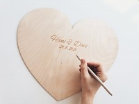 Dřevěné srdce na podpisy - 40 cm