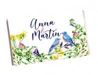 Čokoládka svatební tabulka - luční květy s ptáčky