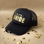 Kšiltovka černá - zlatý nápis Team bride