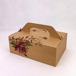 Krabička na výslužku maxi - kraft s růží