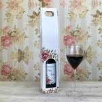 Krabice na svatební víno 0,7l - bílá s růží