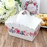 Svatební košíček na koláčky velký - květinový věnec
